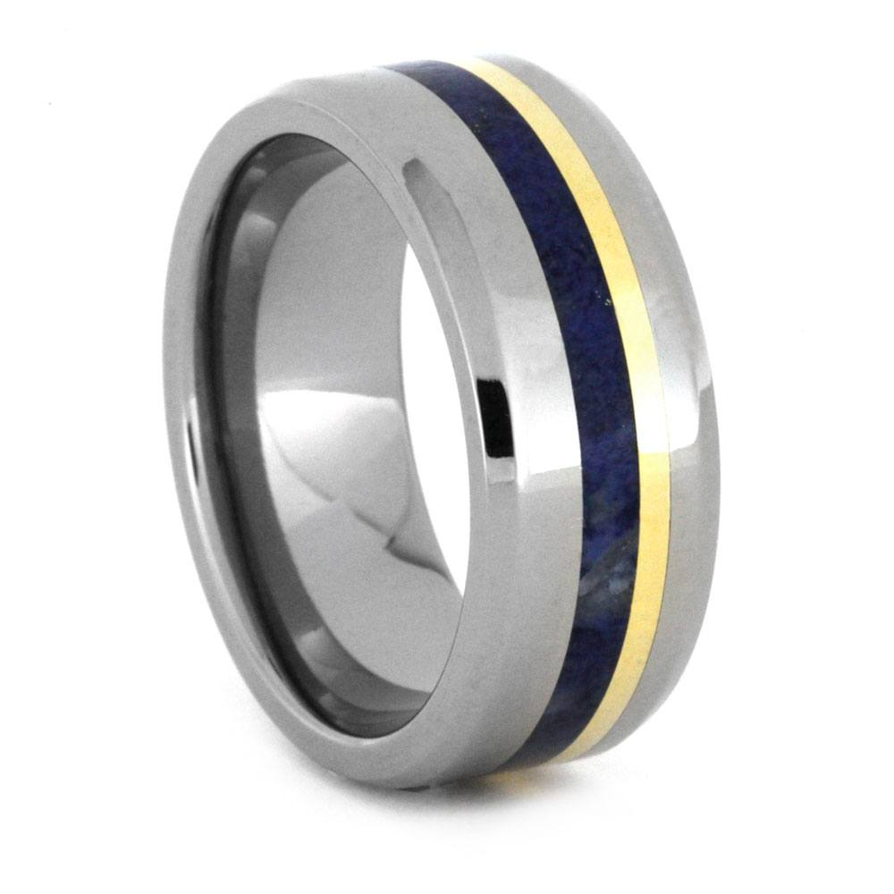 Lapis Lazuli Wedding Band, Titanium Ring with Gold Pinstripe-3224 - Jewelry by Johan