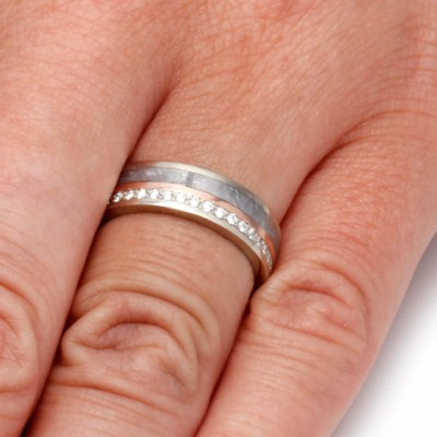 Diamond Eternity Band With Rose Gold & Meteorite-2069 - Jewelry by Johan