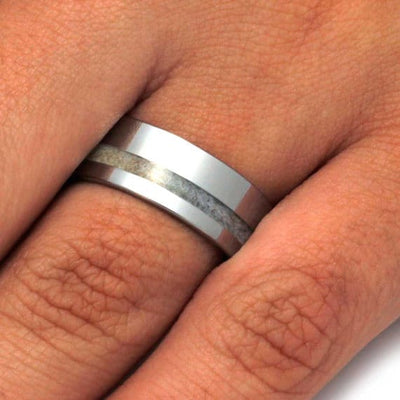 Tungsten Men's Wedding Band With Deer Antler Inlay-3209 - Jewelry by Johan