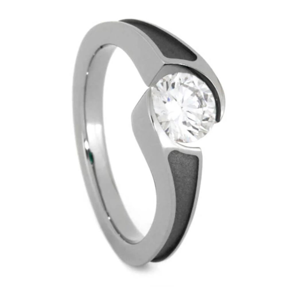 Diamond Engagement Ring with Sandblasted Titanium, Tension Set-1613 - Jewelry by Johan