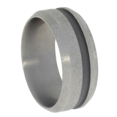 Wide Groove Sand Blasted Titanium Ring-1393 - Jewelry by Johan