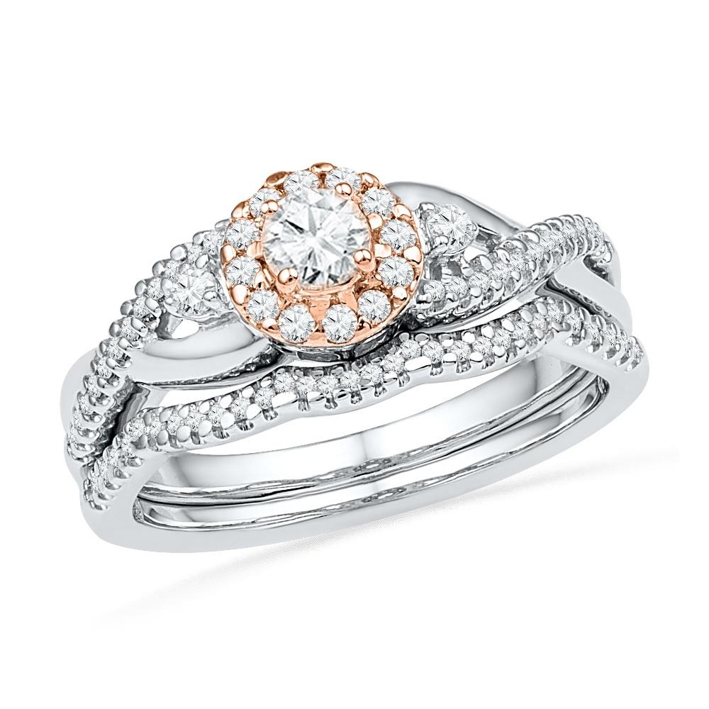 Sterling Silver Round Diamond Engagement Ring Set-SHRB018346-SS - Jewelry by Johan