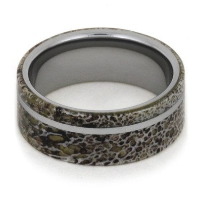 Men's Wedding Band With Antler