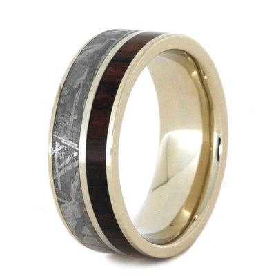 White Gold Men's Wedding Band with King Wood and Meteorite-2803 - Jewelry by Johan