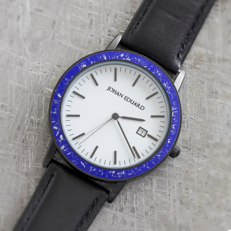 Royal Blue Stardust Watch With Black Leather Strap
