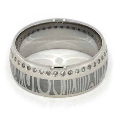 Damascus Diamond Eternity Band with 14k White Gold-1926 - Jewelry by Johan