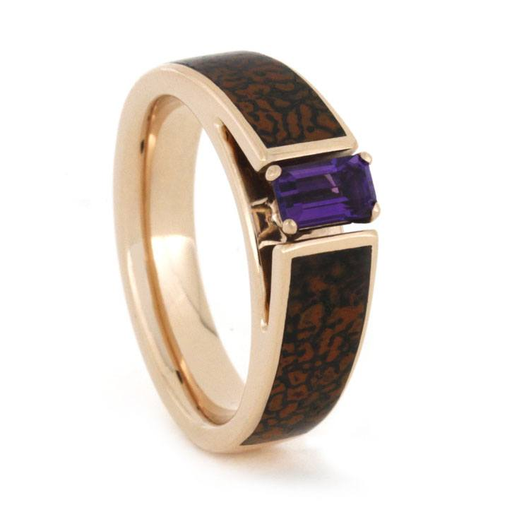 Cathedral Style Amethyst Ring with Dinosaur Bone in 14k Rose Gold-1788 - Jewelry by Johan