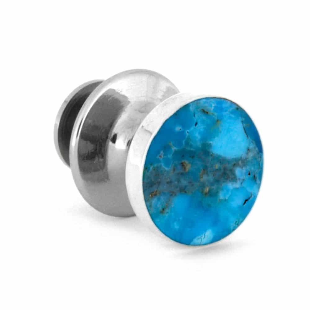 Round, Genuine Turquoise Tie Tack, In Stock-RS10083 - Jewelry by Johan