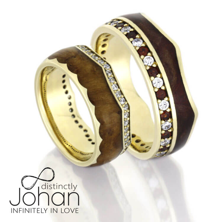 Crown Wedding Band Set, Eternity Rings With Wood in Yellow Gold-DJS1006