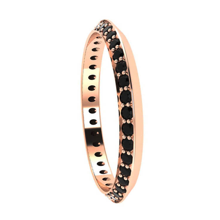 Black Diamond Eternity Wedding Band in 14k Rose Gold-3119