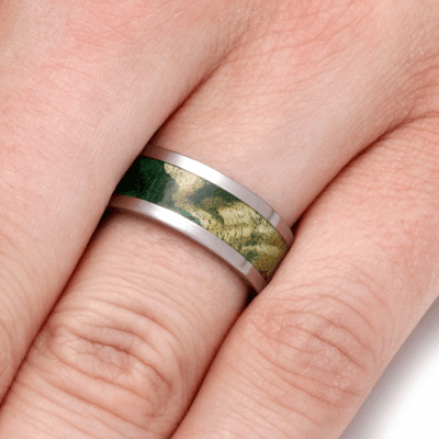 Titanium Wedding Band with Green Box Elder Burl-2242 - Jewelry by Johan