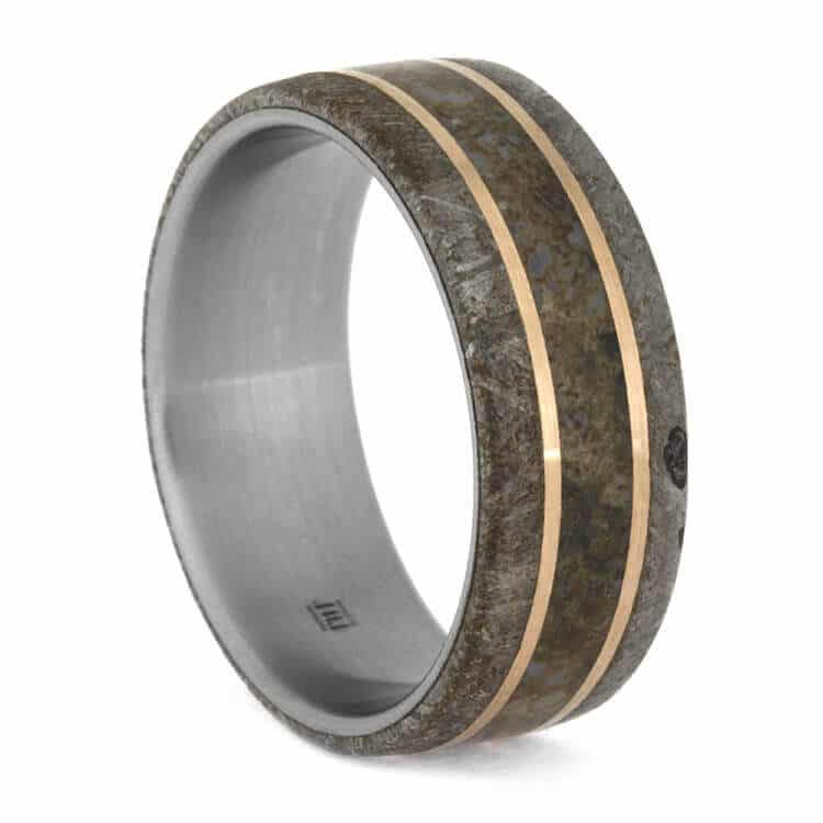 Meteorite Men's Wedding Band With Rose Gold Pinstripes, Size 9.5-RS10049 - Jewelry by Johan