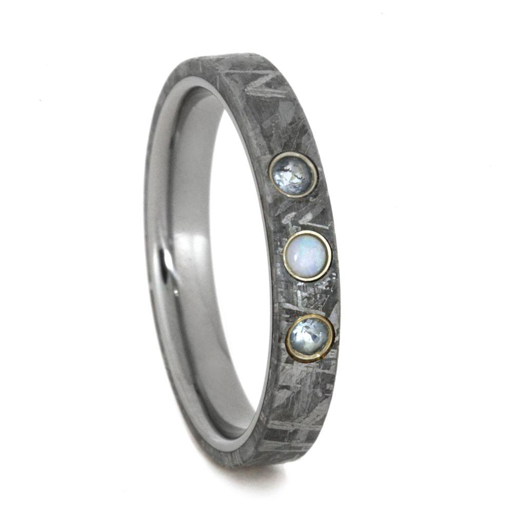 Meteorite Wedding Band With Aquamarine And Opal Gemstones
