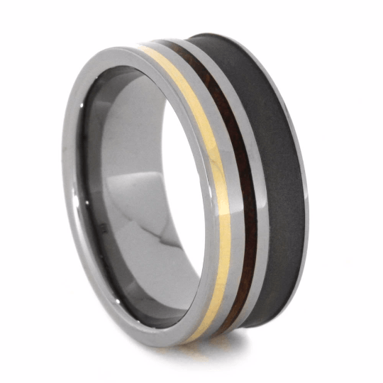 Whiskey Ring With Titanium And 14k Yellow Gold-2071 - Jewelry by Johan
