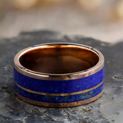 Lapis Lazuli Wedding Band In 14k Rose Gold, Sapphire Engagement Ring-3410 - Jewelry by Johan