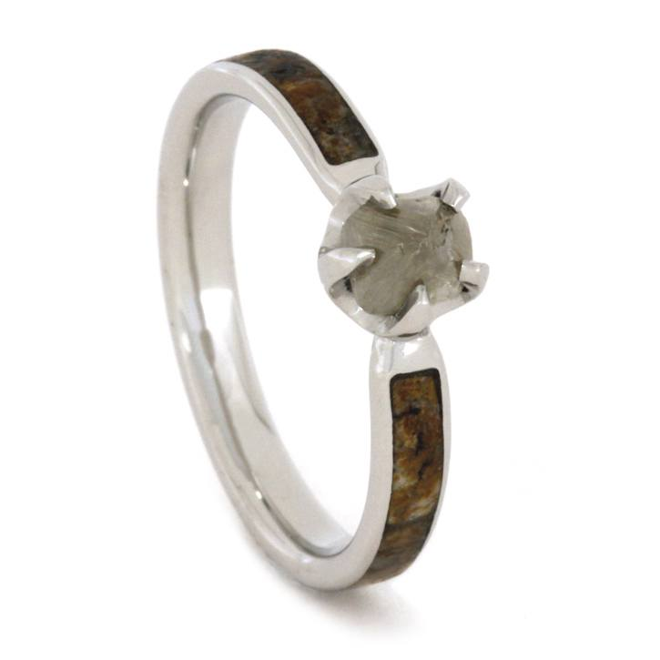 Rough Diamond Ring with Genuine Dinosaur Bone in Platinum-1694 - Jewelry by Johan