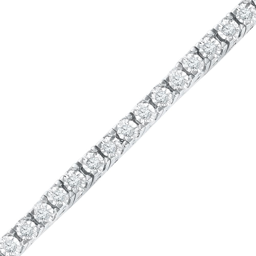1 Carat Diamond Tennis Bracelet, Silver or White Gold-SHBT070065KAW - Jewelry by Johan
