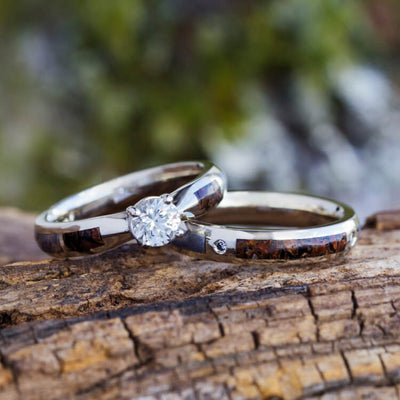 Dinosaur Bone Bridal Set With Sapphire Engagement Ring And Diamond Wedding Band-3554 - Jewelry by Johan