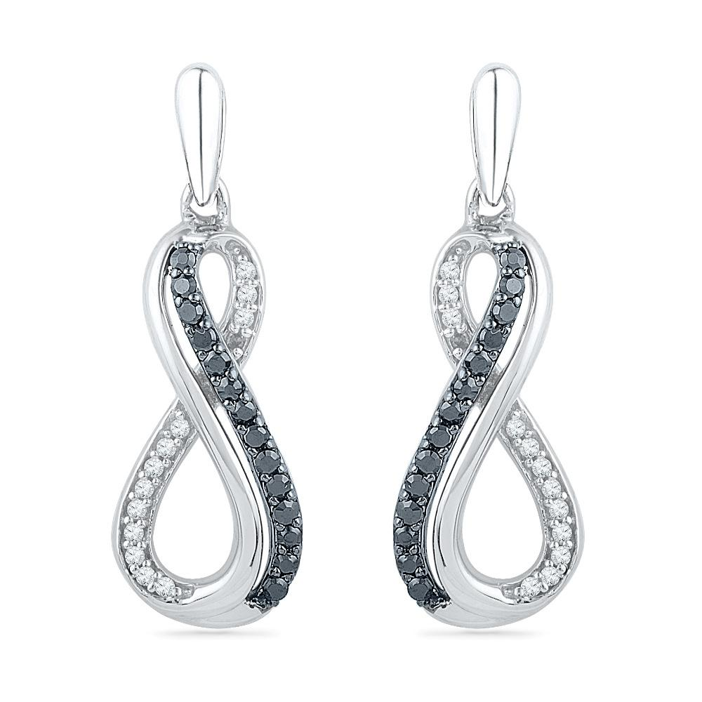 Sterling Silver Black and White Diamond Infinity Earrings-SHEF073379EAWBW-SS - Jewelry by Johan