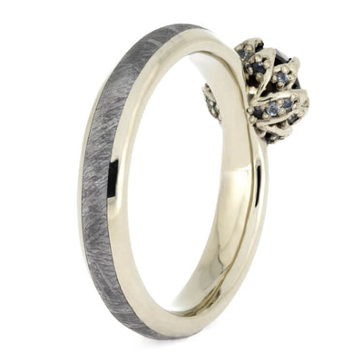 Black Diamond Ring Set, White Gold Wedding Rings With Meteorite-3659