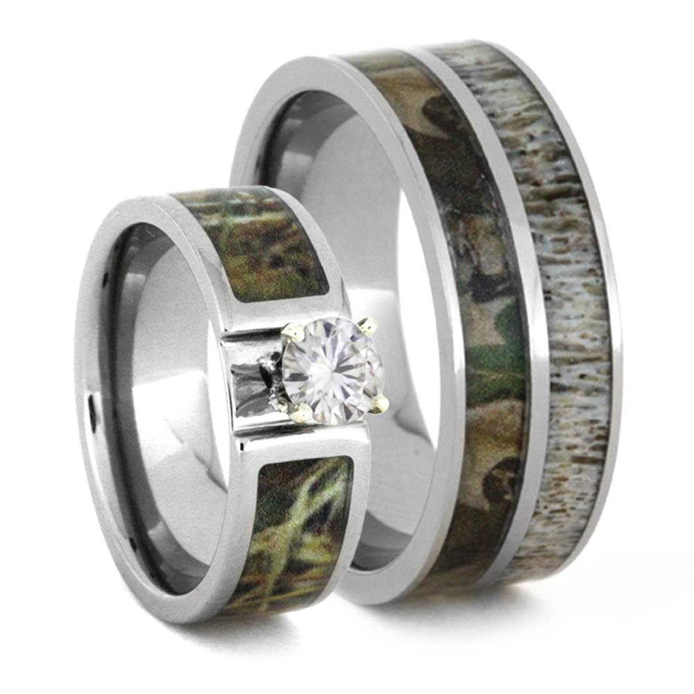 Camo Wedding Ring Set With Moissanite And Deer Antler Rings-3436 - Jewelry by Johan