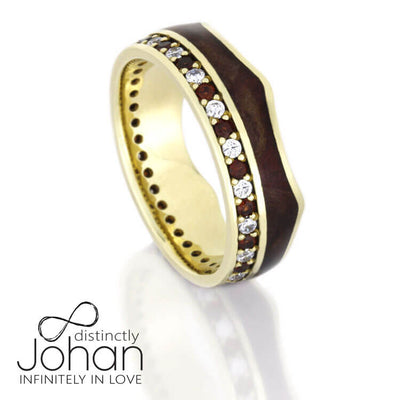 Crown Ring Gemstone Eternity Wedding Band With Wood Inlay In Gold
