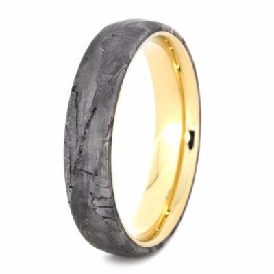Mens Wedding Band, Yellow Gold Band with Meteorite Inlay