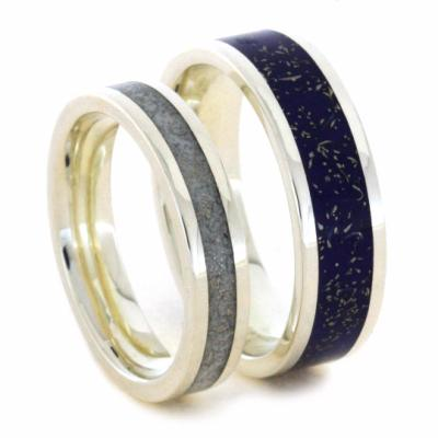His and Hers Stardust Sterling Silver Wedding Band Set