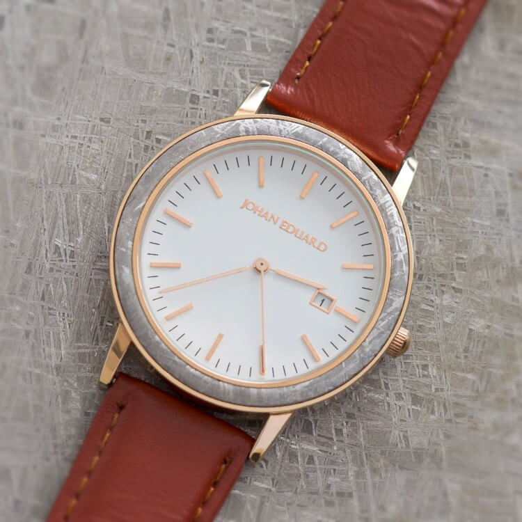 Rose Gold Metal And Mocha Brown Strap Watch, Shown With Meteorite