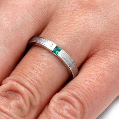 14k White Gold Engagement Ring with Meteorite and Princess Cut Emerald-2809 - Jewelry by Johan