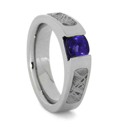 14k White Gold Engagement Ring with Meteorite and Tanzanite