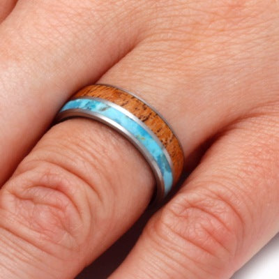 Mesquite Wood Ring With Antler Sleeve And Turquoise-2266 - Jewelry by Johan