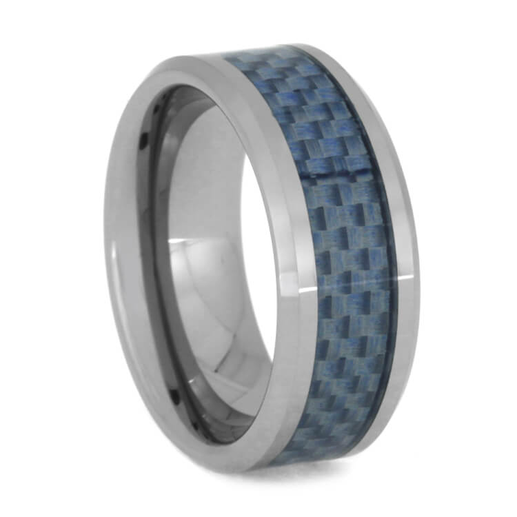 Tungsten Band With Light Blue Carbon Fiber Inlay