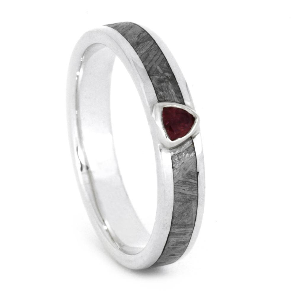 Meteorite Engagement Ring with Red Ruby Stone, 14k White Gold Ring