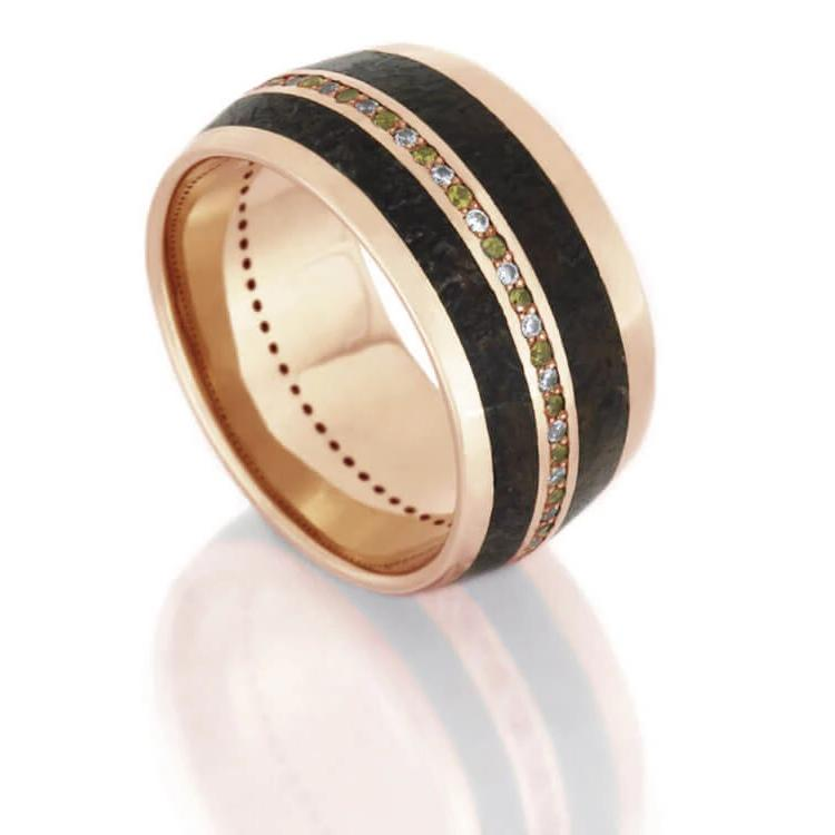 Dinosaur Bone Wedding Band In 14k Rose Gold With Diamonds-DJ1006RG - Jewelry by Johan