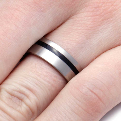 Finger Wearing Enamel and Wood Wedding Band