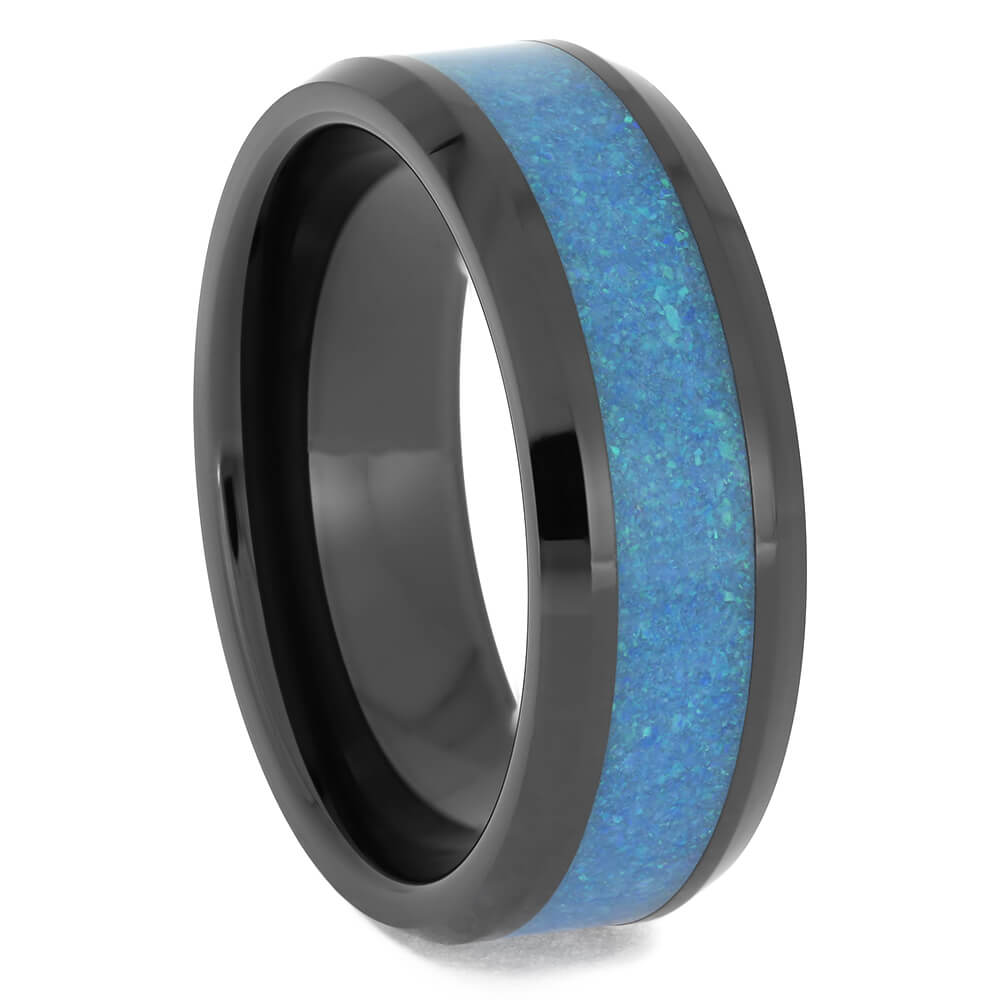 Blue Opal and Black Ceramic Wedding Band for Men