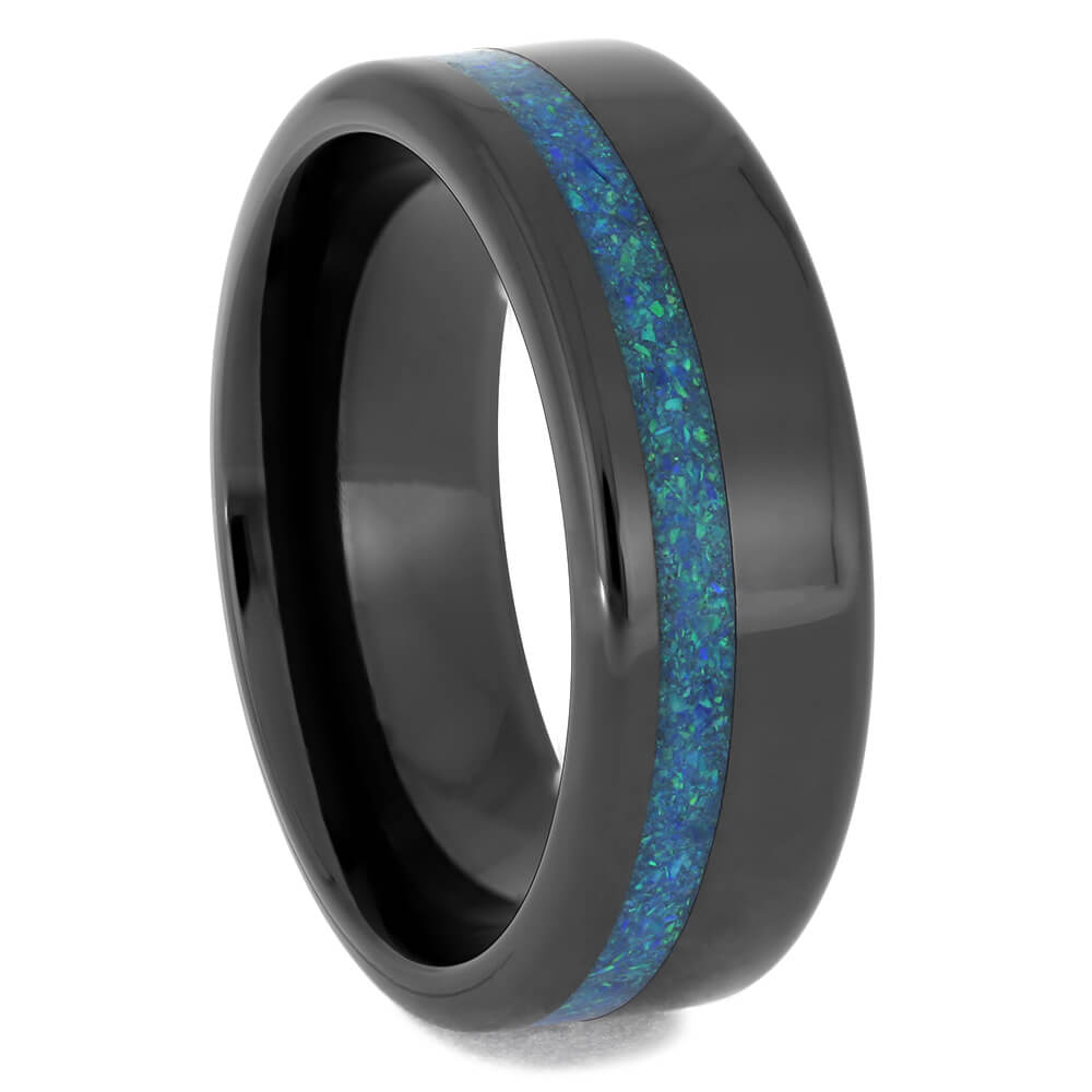 Black Ceramic Wedding Band with Opal Inlay