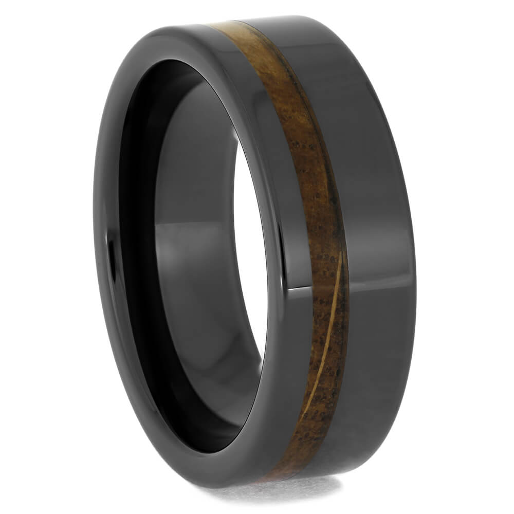 Flat Black Ceramic Ring with Whiskey Barrel Inlay
