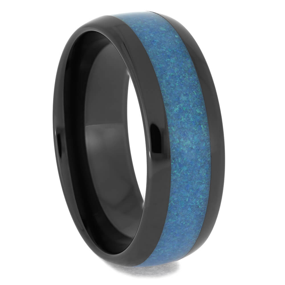 Round Black Zirconium Ring with Crushed Blue Opal