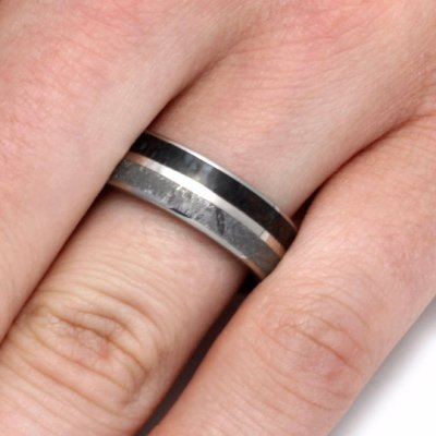 Unique Titanium Ring with Dinosaur Bone, Meteorite, and White Gold-2100 - Jewelry by Johan