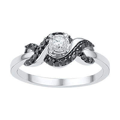 White and Black Diamond Engagement Ring in Sterling Silver-SHRP073254CAWBW-SS - Jewelry by Johan