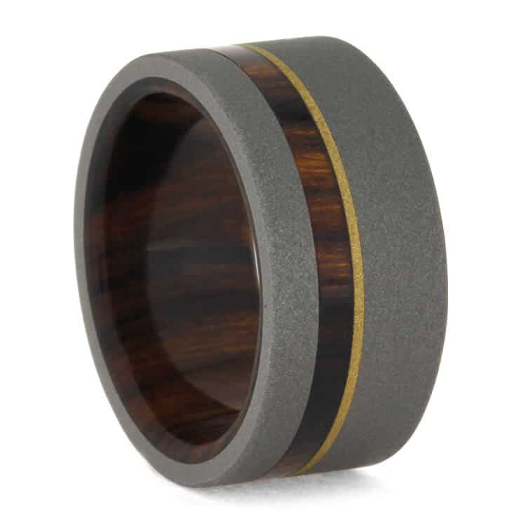 Ironwood Wedding Band In Sandblasted Titanium With Gold, Size 7-RS10121 - Jewelry by Johan