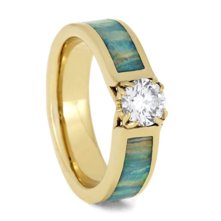 Diamond Engagement Ring With Synthetic Opal And Antler Prongs, Yellow Gold-3638 - Jewelry by Johan
