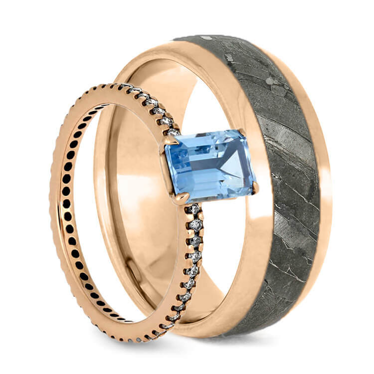 Rose Gold Wedding Rings, Aquamarine Engagement Ring And Meteorite Wedding Band, Ring Set-3730