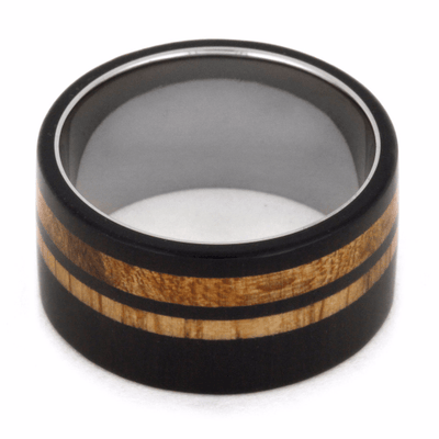 Titanium Ring With Oak Wood and Blackwood Pinstripes-2095 - Jewelry by Johan