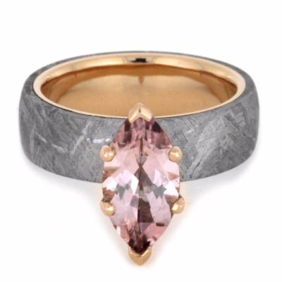 Marquise Morganite Engagement Ring with Meteorite