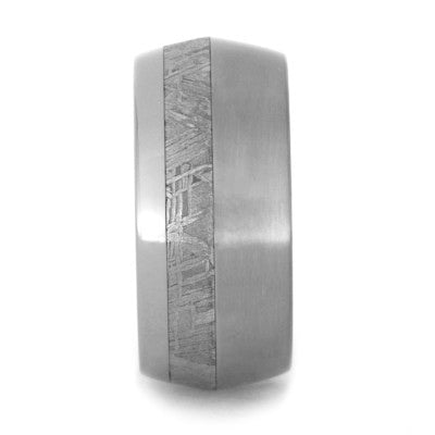 Mens Wedding Band with Titanium Knife Edge