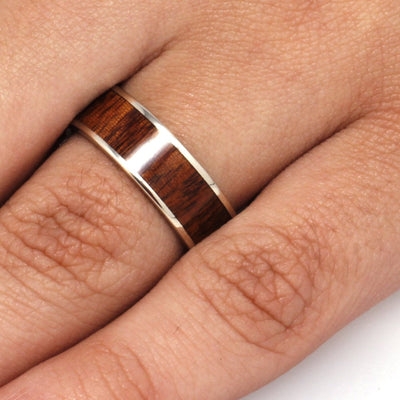 Wood Wedding Ring, Ipe Wood Wedding Band in White Gold-3310 - Jewelry by Johan