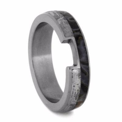 Custom Wedding Band With Meteorite And Dinosaur Bone-2075 - Jewelry by Johan